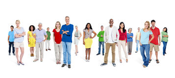 Large Group of World People on White Background Royalty Free Stock Photo