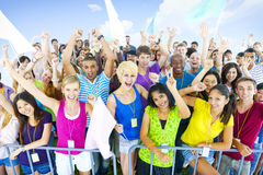 Large group young people cheering Concept Royalty Free Stock Images