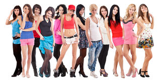 Large group of young women. Isolated over white background Stock Image