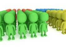 A large groups of people stand on white Stock Photos