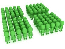 A large groups of people stand on white Stock Images