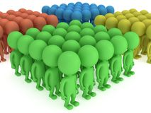 A large groups of people stand on white Royalty Free Stock Photography
