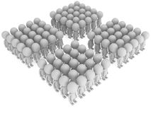A large groups of people stand on white Stock Photo