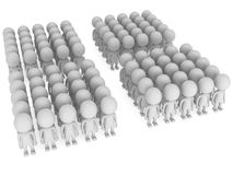 A large groups of people stand on white Stock Image