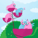Large growing family. A cute little pair of cartoon birds in pink and blue sitting with their wings around each other viewing their three offspring in smaller Stock Images