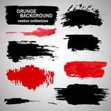 Large grunge elements set. Brush strokes, banners, borders, splashes, splatters.... Vector illustration. Black and red collection. Royalty Free Stock Image