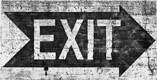 Large grunge EXIT sign black & white Royalty Free Stock Photography