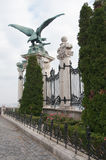 Large Gryphon statue is a decoration to gate at Museum in Budapest, Hunga Stock Images