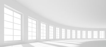 Large Hall. 3d Large Hall with Windows Royalty Free Stock Image