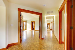 Large hallway in empty house. New luxury home interior. Stock Photos