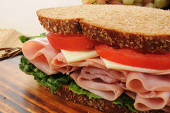 Large ham and chese sandwich Royalty Free Stock Photos