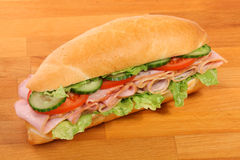 A large ham and tomato sandwich Royalty Free Stock Photos