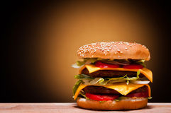 Large hamburger. With text copy space Royalty Free Stock Photos