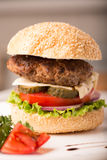 Large hamburger with vegetables Stock Photography