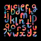 Large hand drawn watercolor font. Abc letters sequence from A to Z. Lowercase freehand letters in reonded plump shapes, drawn  Stock Image