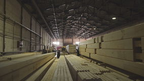 Large hangar with the production line for wood. Wood Factory stock video footage