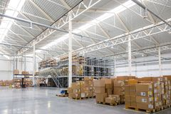 Large warehouse with a variety of boxes Stock Photo