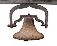Large hanging metal bell isolated Stock Images