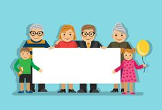 Big family with a poster. Large happy family holding a big blank poster with a place for writing royalty free illustration