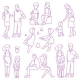 Large happy family. Mother, father, son and daughter, big set Royalty Free Stock Photos