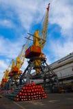 Large harbor cranes Royalty Free Stock Photo