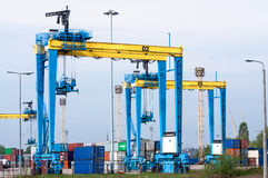Large harbor cranes Royalty Free Stock Images