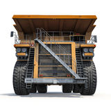 Large haul truck ready for big job in a mine. Front view. On white. 3D illustration Stock Photo