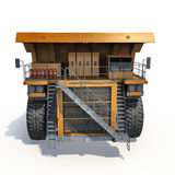 Large haul truck ready for big job in a mine. Front view. On white. 3D illustration Stock Photos