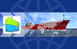 Large haulage ship montage. A montage of shipping and haulage elements both photographic and 3d renders Stock Photos