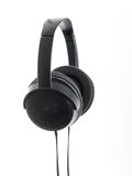 Large Headphones over white background. Set of large black home headphones over a white background royalty free stock images