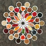 Large Healthy Heart Food Collection. Large health food collection for a healthy heart with fruit, fish, vegetables, nuts, seeds and cereals with spices and herbs stock images