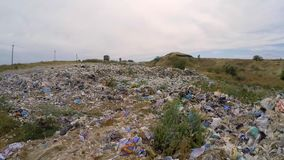 Large Heap Of Wastes At Landfill In Ukraine stock video footage