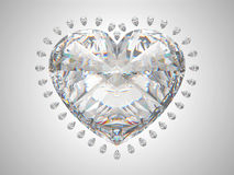 Large heart cut diamond. With small pear gems Royalty Free Stock Photography