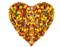 Large heart made of colorful pasta noodles Stock Image