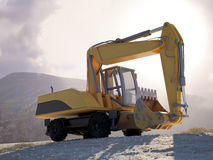 Large heavy duty yellow excavator Royalty Free Stock Photos