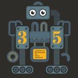 Large heavy robot. Illustration. Artistic design of futuristic mechanism. Design for kids Royalty Free Stock Images