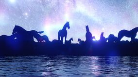 A large herd of horses grazing in the steppe near a pond against the background of stars and Northern lights. Animal