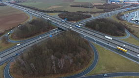 Large highway interchange - aerial view stock video
