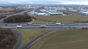 Large highway interchange - aerial view stock video footage
