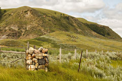 A large hill by a fenceline. A large grass covered hill with a pile of rocks wired to the corner of a fence line Stock Photography