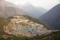 Large Himalayan mountain town stock photo