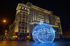Large holiday ornament on Manezh Square Stock Images