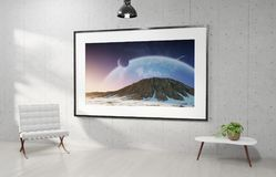 Large horizontal frame hanging on a white concrete wall 3D rendering vector illustration