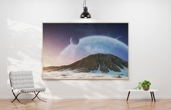 Large horizontal frame hanging on a white wall 3D rendering royalty free illustration