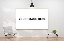 Large horizontal frame hanging on a white wall 3D rendering vector illustration