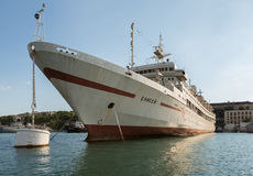 Large hospital ship Yenisei in the Bay Black Sea. Royalty Free Stock Images