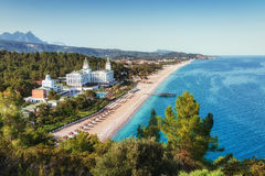 Large hotels and trees on the beach with luxury apartments. And waterway. Aerial photography of the hotel. Turkey Stock Image
