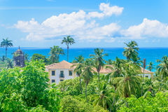 Large house in coastal jungle Stock Photos