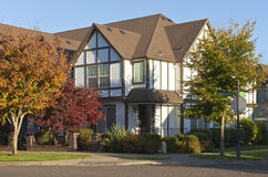 Large house on a corner street Willsonville Oregon. Royalty Free Stock Images