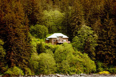 Large House on Fir Covered Hill Stock Image